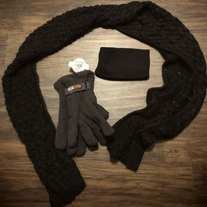 Winter set of gloves scarf & head wrap